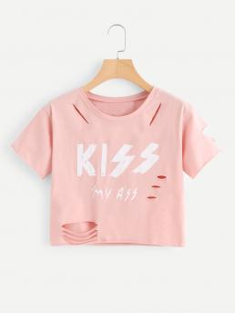 Casual Letter Regular Fit Round Neck Short Sleeve Pink Crop Length Letter Print Raw Edge Ripped Tee