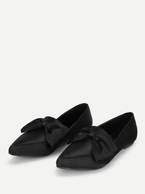 Clearance Corduroy Black Loafers Bow Decorated Flats