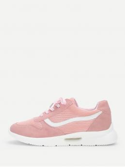 Other Round Toe Plain Lace Up Pink Mid Heel Lace-up Chunky Sole Sneakers