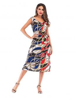 Casual A Line Colorblock and Chain Print Straight Regular Fit V neck Sleeveless High Waist Multicolor Long Length Spliced Chain Print Self Tie Dress with Belt