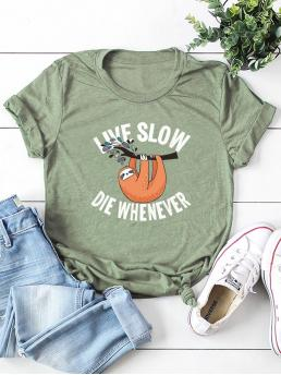 Casual Letter and Animal Regular Fit Round Neck Short Sleeve Pullovers Green Regular Length Letter And Cartoon Print Tee