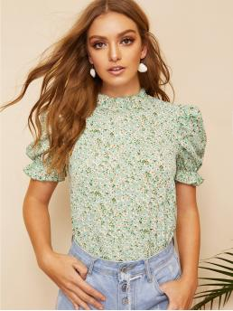 Boho Ditsy Floral Top Regular Fit Stand Collar Short Sleeve Pullovers Green and Pastel Regular Length Ditsy Floral Frill Neck Puff Sleeve Top