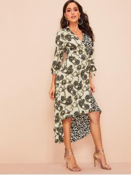 Elegant A Line Leopard and Chain Print Asymmetrical Regular Fit V neck Three Quarter Length Sleeve Bishop Sleeve High Waist Multicolor Long Length Chain & Leopard Print Knot-side Surplice Dress