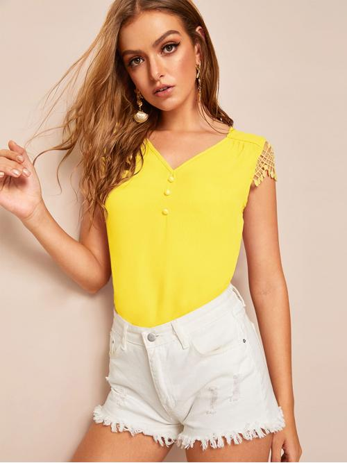 Casual Plain Top Regular Fit V neck Cap Sleeve Regular Sleeve Half Placket Yellow and Bright Regular Length Button Detail Lace Sleeve Top