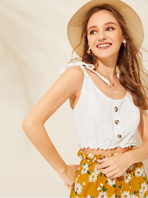 Boho Cami Plain Regular Fit Spaghetti Strap White Crop Length Eyelet Embroidery Knot Cami Top