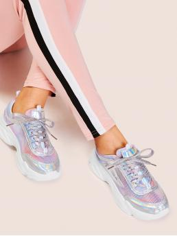 Glamorous Round Toe Lace Up Multicolor Tie Dye Iridescent Panel Sneakers