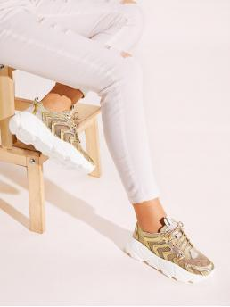 Glamorous Round Toe Gold Metallic Lace-up Front Mesh Trainers