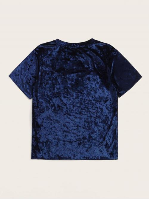 Short Sleeve Tee Embroidery Velvet Top Trending now