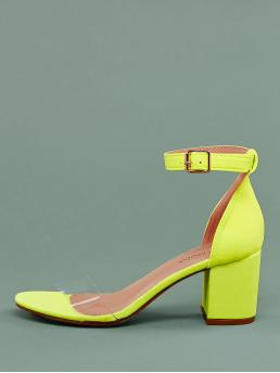 Clear Band Neon Buckled Ankle Low Heel Sandals