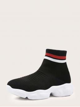 Black Round Toe Fabric Striped Knit Sock Sneakers on Sale