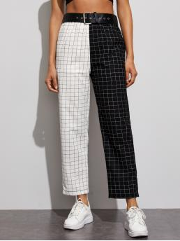 Casual Plaid Straight Leg Regular Elastic Waist High Waist Black and White Cropped Length Plaid Two Tone Belted Pants with Belt