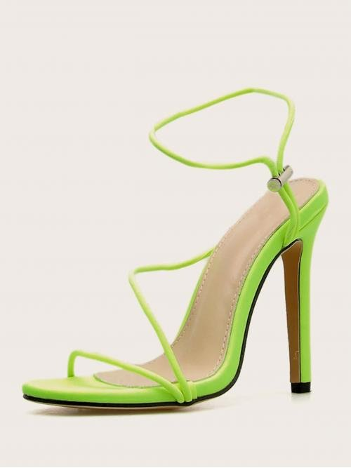 Glamorous Open Toe Plain Ankle Strap Green and Bright High Heel Stiletto Neon Lime Ankle Strap Stiletto Heels