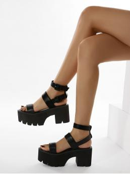 Black Strappy Sandals Buckle High Heel Chunky Heeled Sandals on Sale