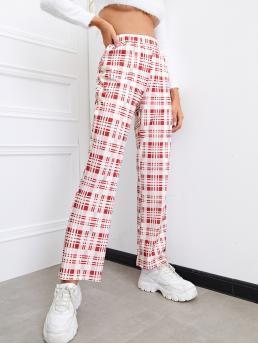 Red and White High Waist Straight Leg Plaid Flare Leg Pants on Sale