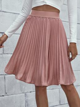 Dusty Pink High Waist Pleated Pleated Solid Skirt on Sale