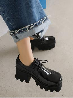 Black Oxfords High Heel Chunky Patent Heeled Oxford Shoes Clearance