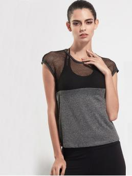 Sporty Colorblock Regular Fit Round Neck Short Sleeve Multicolor Contrast Fishnet Mesh Gym T-Shirt