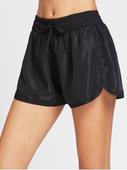 Sporty Plain Loose Drawstring Waist and Elastic Waist Mid Waist Black Drawstring Waist Dolphin Sports Shorts