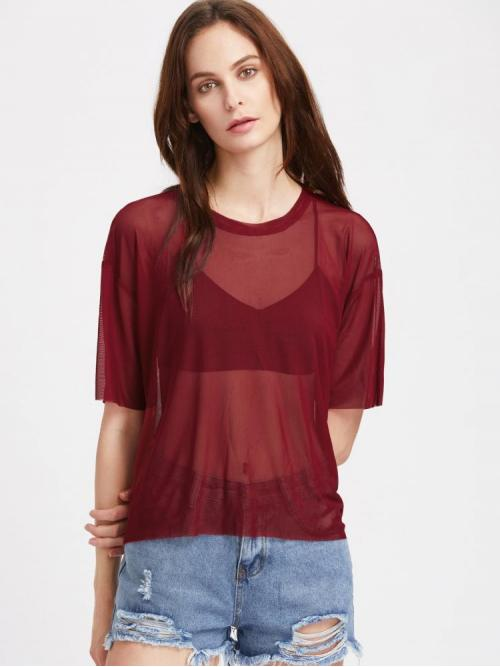 Short Sleeve Top Sheer Polyester Boxy Mesh Top Affordable