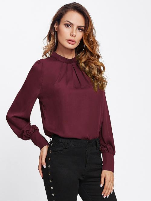 Ladies Long Sleeve Top Button Chiffon Keyhole Back Pleated Neck Blouse