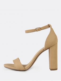Apricot Strappy Sandals High Heel Chunky Single Soles Discount