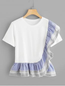 Cute Striped and Colorblock Regular Fit Round Neck Short Sleeve Pullovers White Regular Length Tiered Striped Ruffle Trim Pep Hem Tee