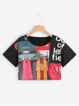 Casual Letter and Figure Regular Fit Round Neck Short Sleeve Pullovers Multicolor Crop Length Figure Print Crop Tee