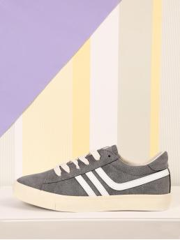 Corduroy Grey Skate Shoes Bow Side Stripe Faux Sneakers on Sale