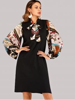 Multicolor Scarf Print Zipper Tie Neck Sleeve Dress Clearance