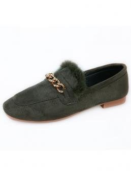 Comfort Army Green Chain Decor Fluffy Flat Loafers