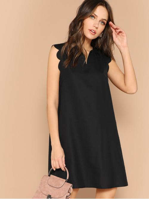 Casual Tunic Plain Straight Loose Notched Sleeveless Natural Black Short Length V-Neck Scallop Trim Trapeze Dress