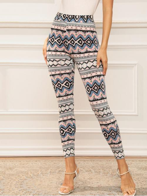 Casual Regular Tribal Multicolor Crop Length Wide Waistband Tribal Print Leggings