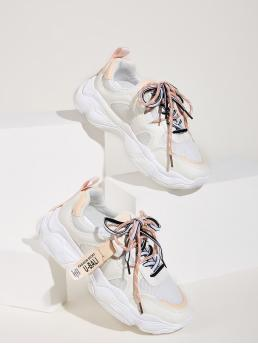 Comfort Round Toe White Lace-up Front Chunky Sole Sneakers