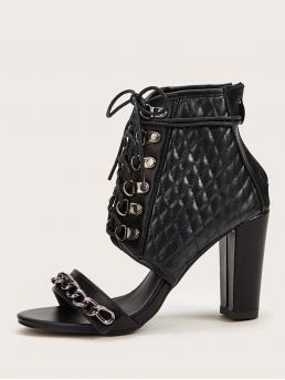 Business Casual Open Toe Black High Heel Chunky Chain Detail Quilted Lace-up Front Chunky Heels