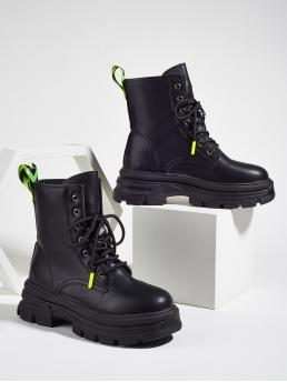 Discount Black Combat Boots Mid Heel Chunky Lace-up Front Combat Boots