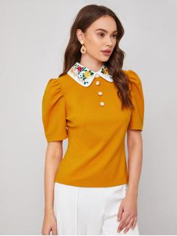 Short Sleeve Top Button Front Polyester Contrast Embroidered Collar Top Discount