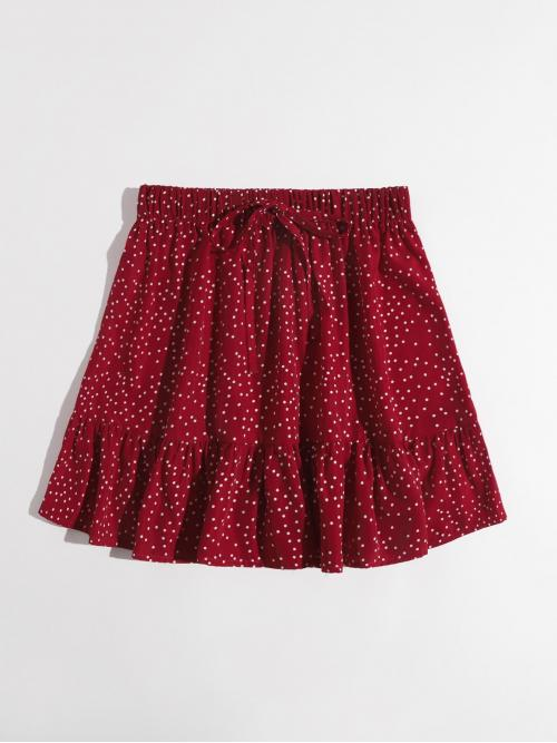 Burgundy High Waist Ruffle Hem a Line Knot Waist Skirt on Sale