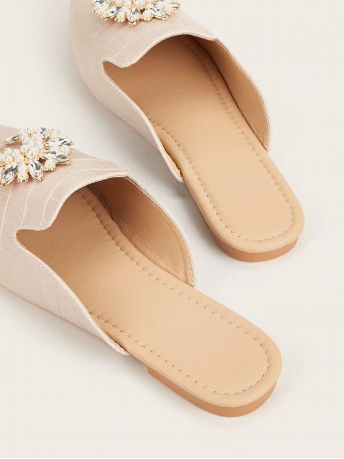 Affordable Apricot Mules Rhinestone Point Toe Faux Pearl & Decor Loafer