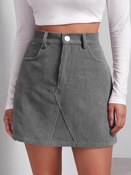 Clearance Grey High Waist Button Front Straight Buttoned Front Cord Skirt