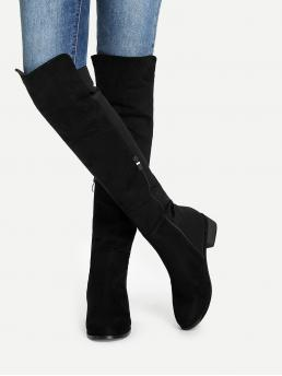 Tweed Black Classic Boots Fringe Knee Length Boots Trending now