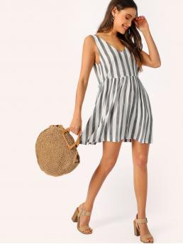Cute Striped Flared Loose V neck Sleeveless Natural Black and White Short Length Double V Neck Two Tone Dress