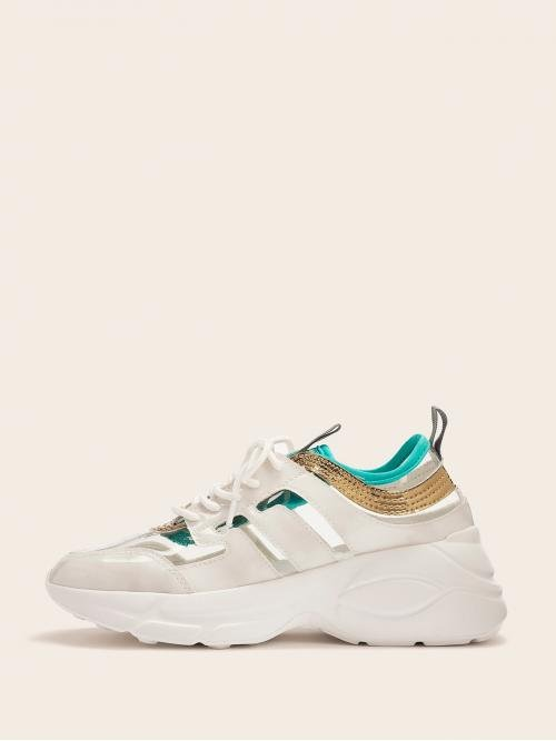 Round Toe White Transparent Toe Cut Out Sneakers
