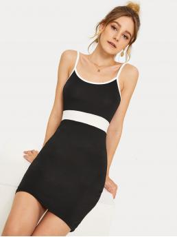 Preppy Cami Colorblock Spaghetti Strap Sleeveless High Waist Black and White Short Length Contrast Panel Binding Trim Slip Dress