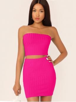 Sexy Plain Skinny Slim Fit Strapless Sleeveless Pink and Bright Neon Pink Rib-knit Tube Crop Top & Skirt Set