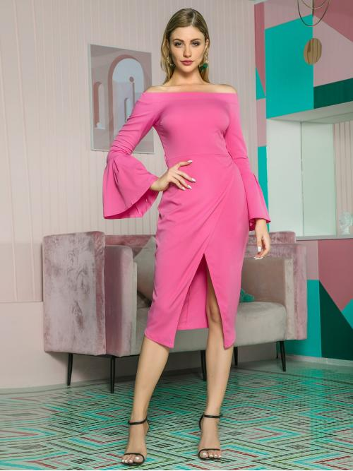 Elegant Fitted Plain Wrap Regular Fit Off the Shoulder Long Sleeve High Waist Pink and Bright Midi Length Double Crazy Bardot Split Hem Flounce Sleeve Dress