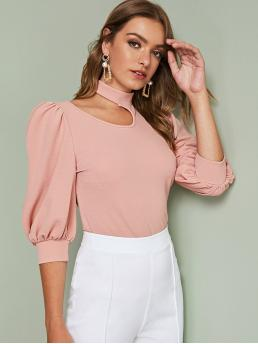 Elegant Plain Top Regular Fit Stand Collar Three Quarter Length Sleeve Pullovers Pink and Pastel Regular Length Cutout Detail Puff Sleeve Solid Top