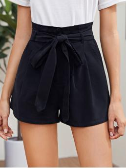 Casual Wide Leg Plain Loose Zipper Fly High Waist Black Paperbag Waist Fold Pleated Shorts with Belt