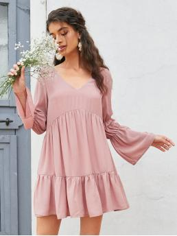 Dusty Pink Plain Ruffle Hem V Neck Solid Dress on Sale
