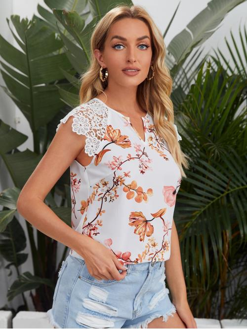 Beautiful Cap Sleeve Top Contrast Lace Polyester Neck Top
