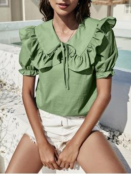 Short Sleeve Top Knot Polyester Solid Statement Collar Puff Sleeve Blouse Fashion